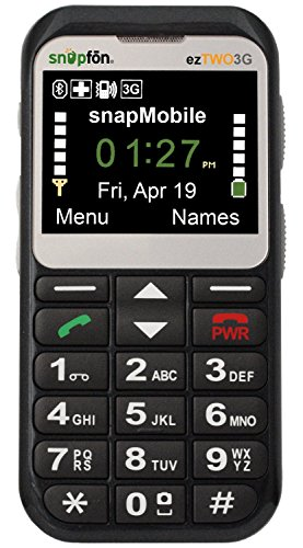 Snapfon ezTWO Senior Unlocked GSM Cell Phone, SOS Button, Hearing Aid Compatible (Best Company Cell Phone Plans)