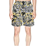 Elxie06 Yellow Navy Camouflage Mens Quick Dry Lightweight Beach Shorts with Drawstring