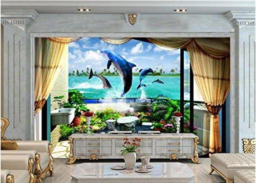 Weaeo 3D壁紙カスタム壁画不織壁ステッカー3Dバルコニー海イルカ水泳3D壁壁3D壁紙-280X200Cm