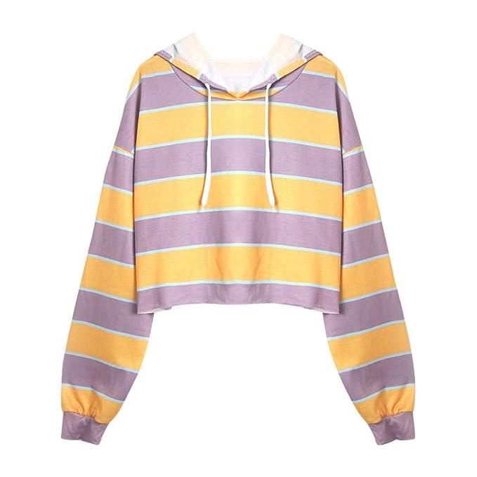 Mujer Sudaderas Cortas, STRIR 2018 Otoño Nuevo Rayada Sudaderas para Mujer Hoodie Blusa Camiseta de Manga Larga Tops de Deportivo Moda Basico Sencillo ...