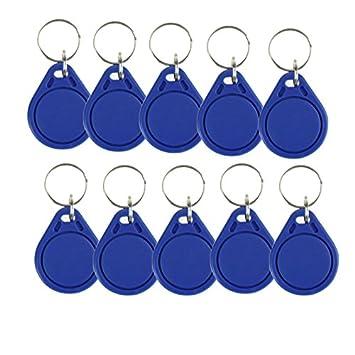 OBO HANDS (100 Unidades) Resistente al Agua ABS 13,56MHz ISO14443 A MF Classic 1 K NFC RFID Token, llavero RFID, Rfid Tag, Azul