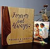 Personalized Wood Cover Photo Album, Custom Engraved Family Wedding Album, Style 10B (Maple & Walnut Cover)