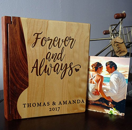 - Personalized Wood Cover Photo Album, Custom Engraved Family Wedding Album, Style 10B (Maple & Rosewood Cover)