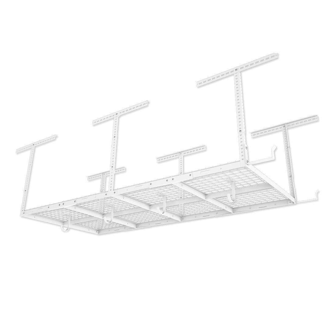 FLEXIMOUNTS 4x8 Overhead Garage Storage Rack w/Hooks Adjustable Ceiling Storage Racks, 96'' Length x 48'' Width x 40'' Height, 22''-40'' Ceiling Dropdown, White by FLEXIMOUNTS