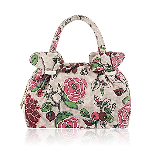 Beaded Flower Tote - 2018 Spring Handbag Flower Embroidery Bag Vintage Clutch Big Flower Tote Handbag Printing Bag Evening Clutch (Pink)