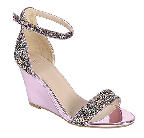 Cambridge Selezionare Donna Open Toe Single Band Fibbia Alla Caviglia Strappy Glitter Dress Sandalo Con Zeppa Rosa