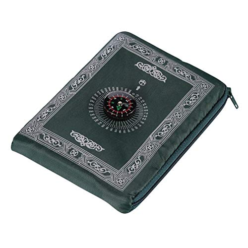 Prayer Mat Muslim Portbale Travel, Ramadan Islam Gifts Praying Rug Compass Pocket Sized Carry Bag Attached Compass Prayer Rug Portable Polyester 60100cm by Balai
