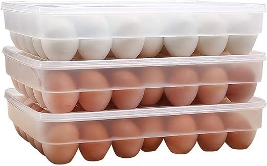 Contenedor Huevos para Refrigerador Premium 34 con Tapa Estuche PortáTil PláStico para Huevos - Proteja Y Mantenga Una Bandeja Huevos Grande Apilable Fresca (Transparente): Amazon.es: Hogar