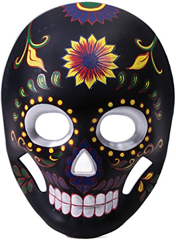 Day of the Dead Black Flower Skull Mask (Day Of The Dead Mask For Sale)