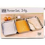 3tlg. Panier Set Edelstahl Schalen Kochen Küche Haushalt Fleisch für Paniermehl