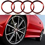 bmw rims x5 - 4 Pieces Red Alloy Car Wheel Rim Center Cap Hub Rings Decoration For Audi A3 A4 A5 Q3 Q5 Q7 TT Quattro, BMW X1 X3 X5 1 3 5 6 7 Series