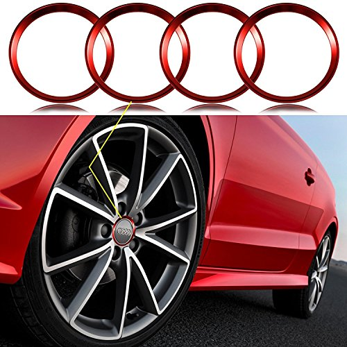 Wheel Accessory Hub Ring - Xotic Tech 4 Pieces Red Alloy Car Wheel Rim Center Cap Hub Rings Decoration For Audi A3 A4 A5 Q3 Q5 Q7 TT Quattro, BMW X1 X 3 X5 1 3 5 6 7 Series