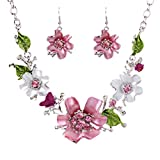 Qiyun White Gold Plated Oil Drip Rhinestone Flower Statement Bib Necklace Earrings