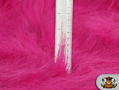 "58/"" W Faux Fur Long Pile Sparkling Tinsel FUCHSIA Fabric Sold by the yard"