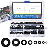 Glarks 410Pcs Metric M2 M2.5 M3 M4 M5 M6 M8 M10 Flat Washers Assortment Set, Black Zinc Plated Alloy