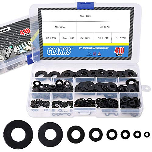 Glarks 410Pcs Metric M2 M2.5 M3 M4 M5 M6 M8 M10 Flat Washers Assortment Set, Black Zinc Plated Alloy
