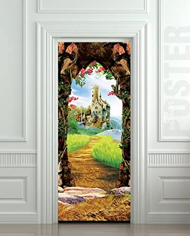 Wall Door LAMINATED STICKER castle fairy tale arch fantasy poster, mural, decole, film 30x79