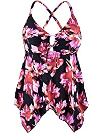cadb087d50133 Women s Black Flowy Swimsuit Crossback Plus Size Tankini Top