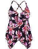 Firpearl Women's Black Flowy Swimsuit Crossback Plus Size Tankini Top US22 Pink Floral