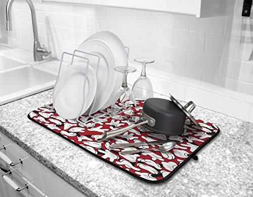 Disney Kitchen Dish Drying Mat - Ultra Absorbent Reversible Microfiber Drying Mat - Soft Surface for Air Drying Dinnerware, Delicate Crystal and Stemware, Pots, Pans, 16 x 18 inches, Mickey Gloves