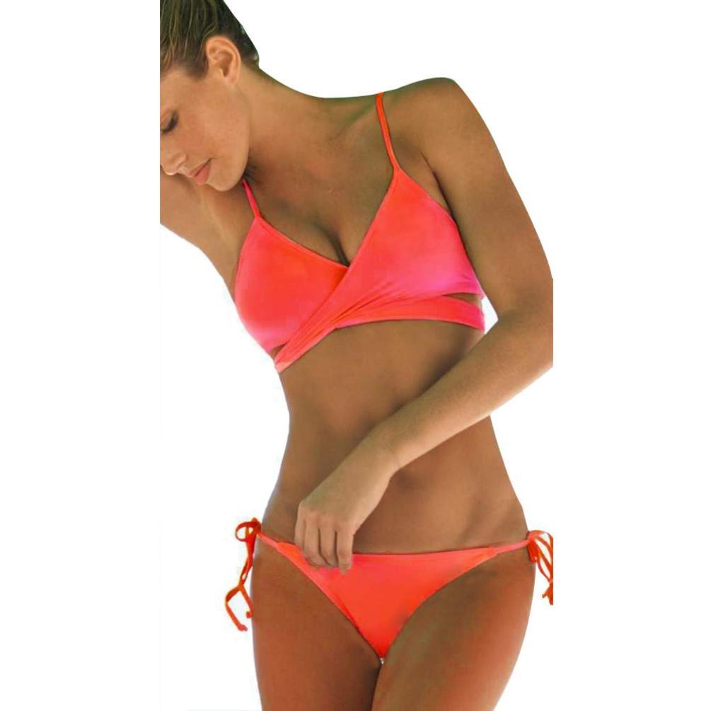 af05e845e1c40 Amazon.com  Vanvler Women Push Up Padded Bra Bandage Bikini Set Swimsuit  Bathing Suit Summer (L