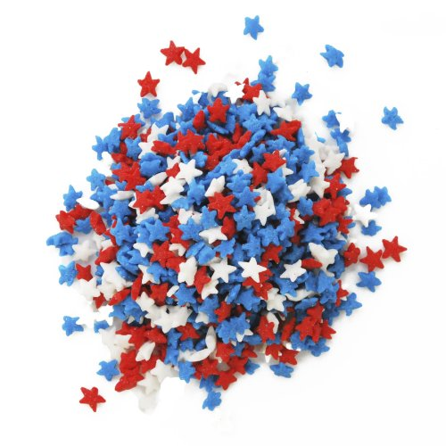 Dress My Cupcake DMC27289 Decorating Edible Cake and Cookie Confetti Sprinkles, July 4th Red/White/Blue Mini Stars, 2.4-Ounce