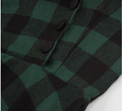 Delle Donne Comodi Vita Mini Giuntura Vestito Manica Plaid Grande Alta Bordo Corta Verde SPwUOqv