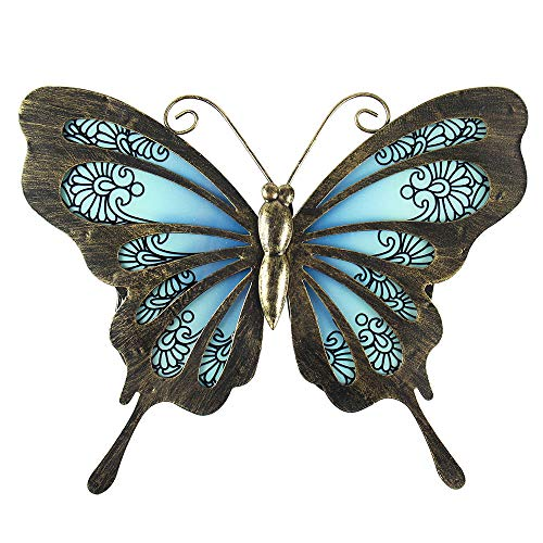 Liffy Metal Butterfly Wall Decor Outdoor Art Decorations Blue for Living Room -