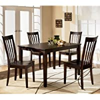 Contemporary Red Brown Hyland Dining Room Table Set