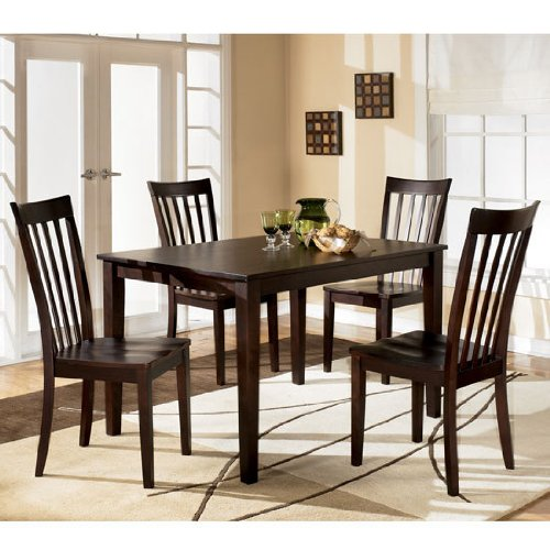 amazoncom contemporary red brown hyland dining room table set table chair sets