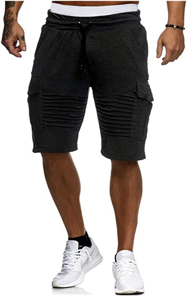 Men's Drawstring Casual Cotton Short - Classic Outdoor Sports Shorts Summer Beach Shorts with Pockets