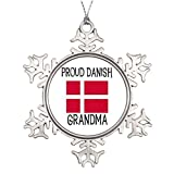 Personalised Christmas Tree Decoration Proud Danish Grandma Snowflake Decorations Christmas Snowflake Ornaments