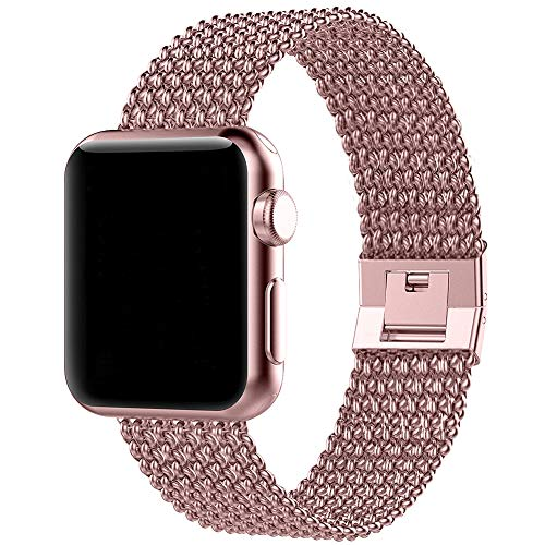 BMBMPT Sport Bands Compatible with Apple Watch 38mm 40mm 42mm 44mm Stainless Steel Mesh Replacement Band with Adjustable Closure for Watch Series 4/3/2/1 (Rose Gold, 38mm/40mm)