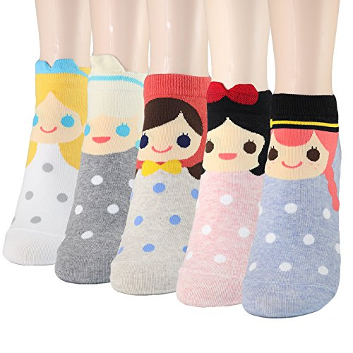 DearMy Womens Famous Cartoon Japanese Animation Print Casual Cotton Blend Crew Socks (Princess 5 Pairs) -