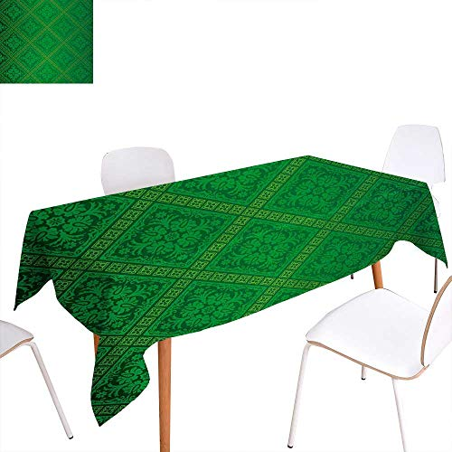 (Warm Family Green Rectangular Tablecloth Vector Illustration Seamless Pattern of Foliage Wallpaper Pattern Artwork Print Oblong Wrinkle Resistant Tablecloth 50