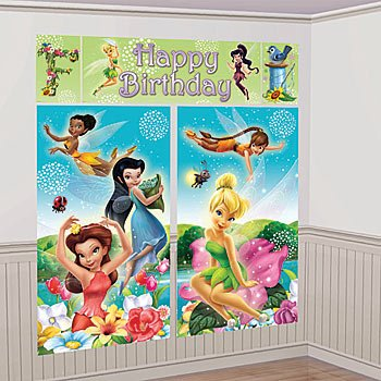 Amscan Disney Tinkerbell Birthday Party Scene Setter Background Decoration (5 Pack), Multi Color, 59'' x 32 1/2''. Others Supplies (60 Piece) by Amscan