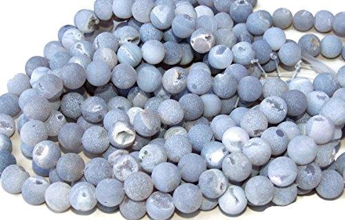 Light Gray Agate Druzy Beads - Matte Finish - Full 15
