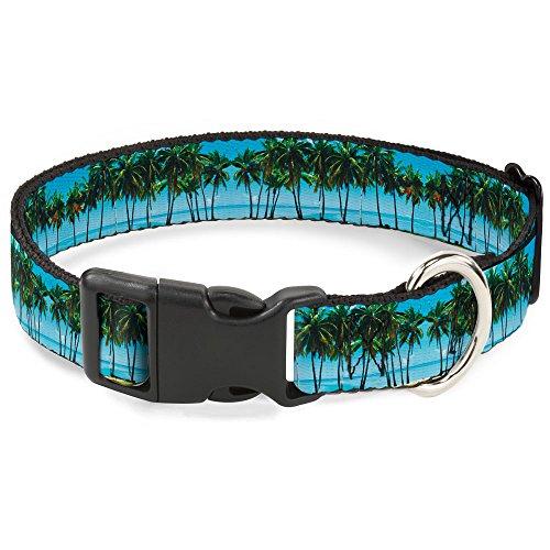 Buckle-Down Plastic Clip Collar - Landscape Beach Palm Trees - 1
