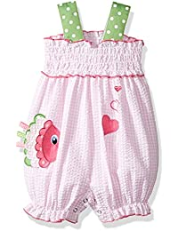 Baby Girls' One Piece Appliqued Seersucker Romper