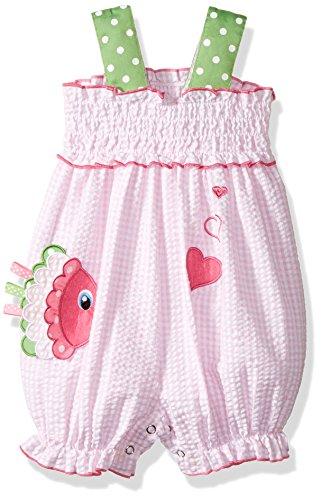 Bonnie Baby Baby Girls' One Piece Appliqued Seersucker Romper, Fish, (Appliqued Fish)