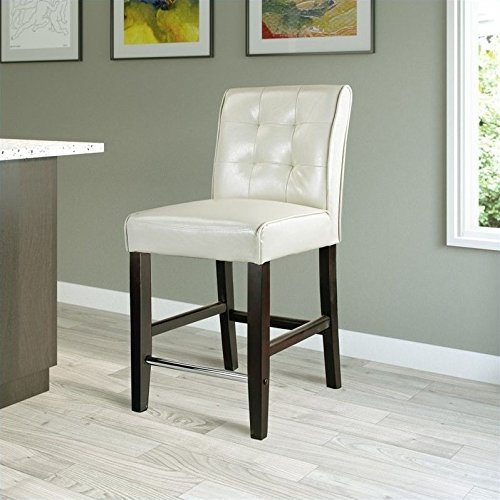 CorLiving DAD-414-B Antonio Counter Height Barstool in Cream White Bonded Leather, 25-Inch (Bar Leather Cream Stools)