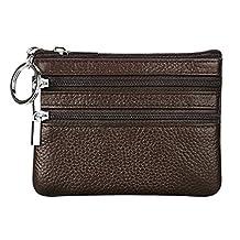 BURNING SECRET Women's RFID Blocking Genuine Leather Coin Change Purse Card Case Zip Mini Wallet