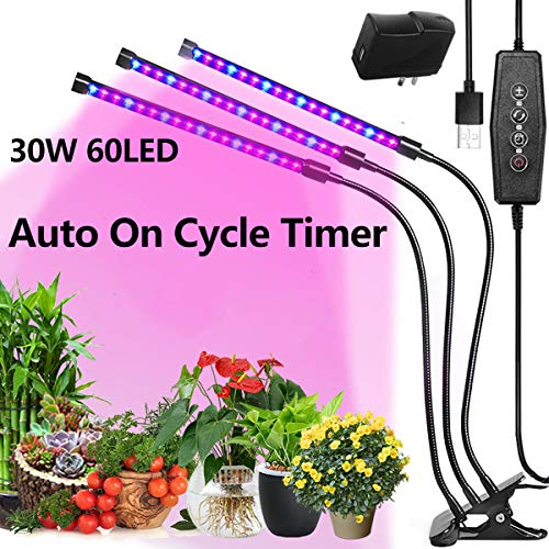 Grow Light Auto On/Off Every Day, 3 Head with Separate Control Switches, Red Blue Full Spectrum, 5 Dimmable Levels, 360 Degree Adjustable Gooseneck, 3/6/12H Timer, 30W 60LED Indoor Plant Growing Lamp
