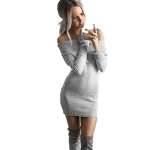 Dress a maniche lunghe inverno fuori dalla spalla lavorato a maglia Vestito aderente Donne (Free Size:Busto:34.6-37.0″, Grigio)