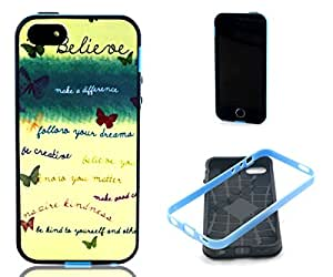 5C Case,iPhone 5C Case, ARTMINE Butterfly Shockproof Silicone Hybrid Rugged Tough 2-Piece Dual Layers TPU Hard Back Bumper Durable Heavy Duty Rubberized Combo Phone Protective Case Cover [HD Screen Protector Gifted] Compatible for Apple iPhone 5C Verizon, AT&T, Sprint, T-Mobile