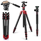 Neewer Aluminum Alloy Tripod Monopod 63''/160cm with 360 Degree Ball Head, Fluid Video Head, 1/4-inch Quick Shoe Plate for DSLR Camera, Video Camcorder up to 33 pounds/15 kilograms(Red)