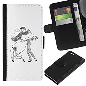 Estuche de Cuero Billetera del tirón Tarjeta de la Bolsa Titular de Suave Caso para Apple Iphone 6 4.7 / CECELL Phone case / / Dance Caricature Man Woman Big Drawing Art /