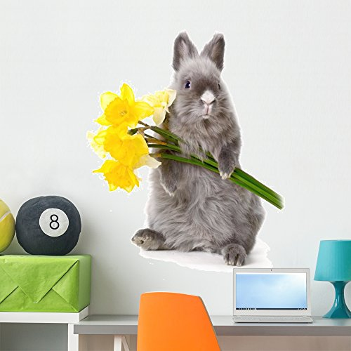 Wallmonkeys Bunny with Yellow Flowers Wall Decal Peel and Stick Graphic (36 in H x 24 in W) WM315055