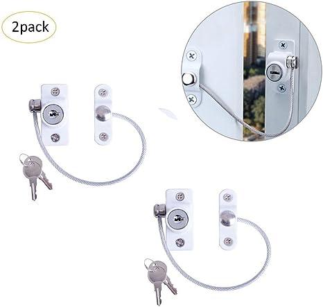 PER Pack de seguridad infantil de 2 candados con llave Ventana y puerta einschränkungs Cable Seguridad alambre Protección para niños niños pequeños: Amazon.es: Bebé