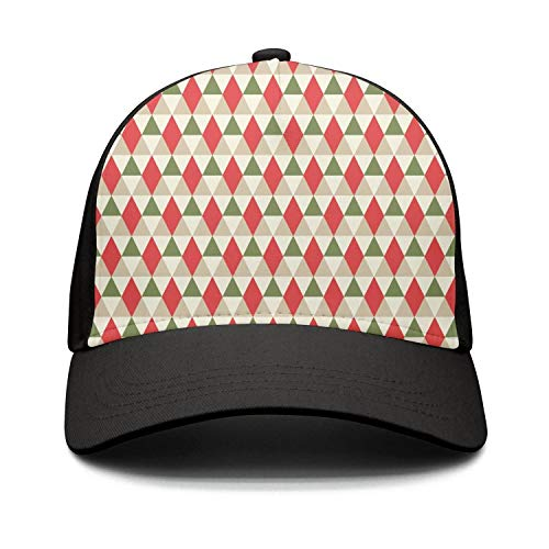 Taiyesybbq Casual Baseball Caps Christmas Geometric Pattern Dad Adjustable Mesh Trucker Hat